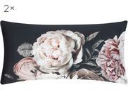 Baumwollsatin-Kissenbezüge Blossom mit Blumen-Print, 2 Stück