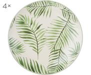 Frühstücksteller Jade mit tropischem Motiv, 4 Stück