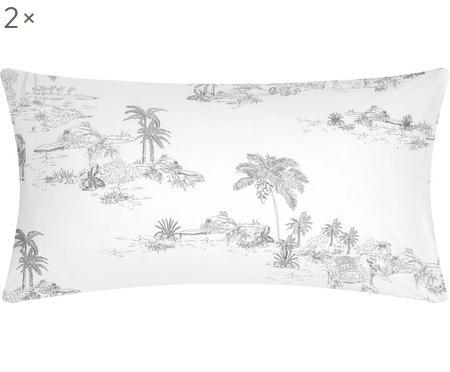 Baumwollperkal-Kissenbezüge Forest mit gezeichnetem Print, 2 Stück
