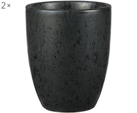 Steingut-Becher Stone mit Sprenkel-Glasur, 2 Stück