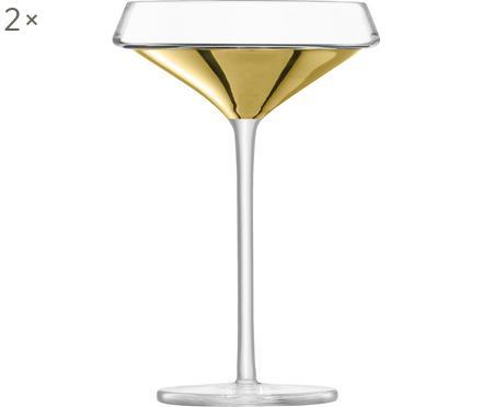 Mundgeblasene Champagnerschalen Space mit goldenem Detail, 2er-Set