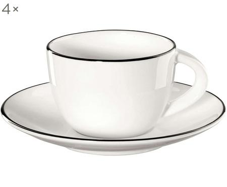 Espressotassen mit Untertassen á table ligne noir mit schwarzem Rand, 4 Stück