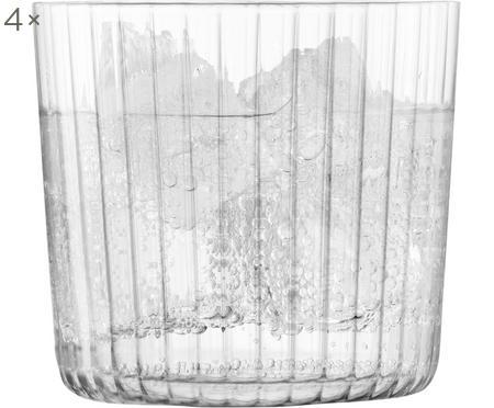 Mundgeblasene Wassergläser Gio mit Rillenstruktur, 4er-Set