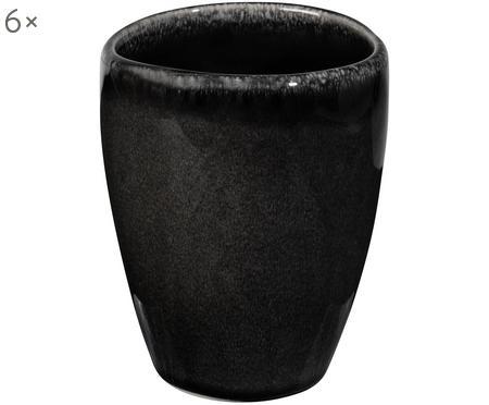 Handgemachte Becher Nordic Coal aus Steingut, 6 Stück