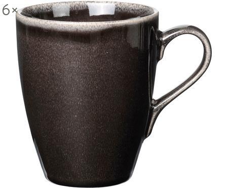 Handgemachte Tassen Nordic Coal aus Steingut, 6 Stück