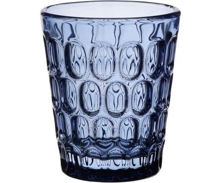 Robuste Wassergläser Optic in Blau mit Relief, 6 Stück