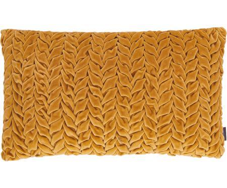 Samt-Kissen Smock in Senfgelb mit geraffter Oberfläche, mit Inlett