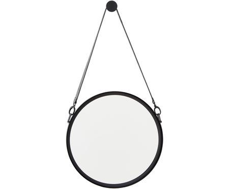 Runder Wandspiegel Liz mit schwarzer Lederschlaufe