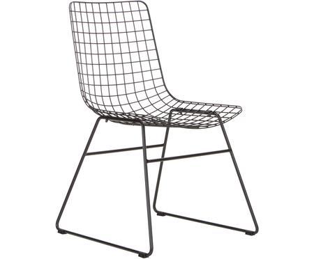 Metall-Stuhl Wire in Schwarz