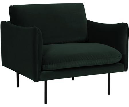 Samt-Sessel Moby in Dunkelgrün mit Metall-Füssen