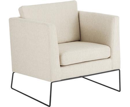Klassischer Sessel Milo in Beige mit Metall-Füssen