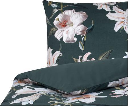 Baumwollsatin-Bettwäsche Flori in Dunkelgrün mit Blumen-Print