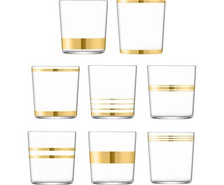 Wassergläser Deco mit Goldelementen, 8er-Set