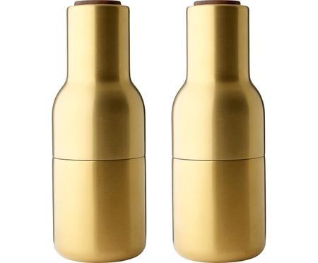 Designer Salz- & Pfeffermühle Bottle Grinder in Gold mit Walnussholzdeckel