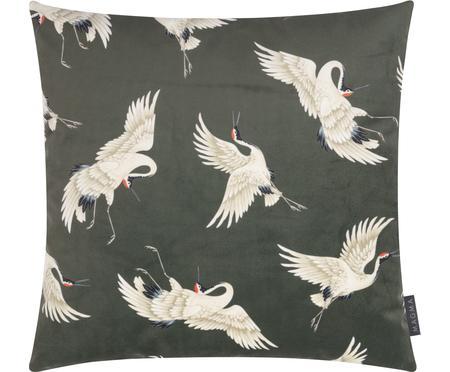 Samt-Kissenhülle Crane in Dunkelgrün