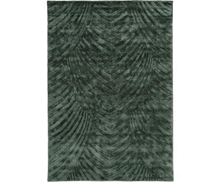 Handgetufteter Viskoseteppich Bloom in Dunkelgrün mit Muster