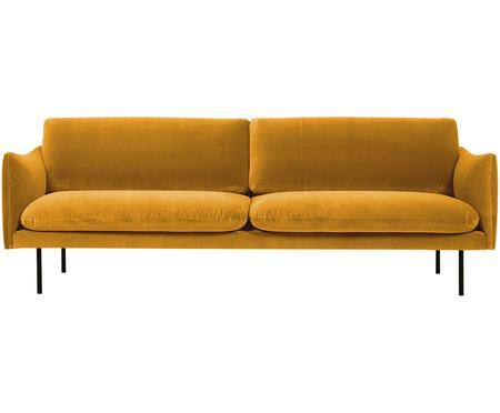 Samt-Sofa Moby (3-Sitzer) in Senfgelb mit Metall-Füssen