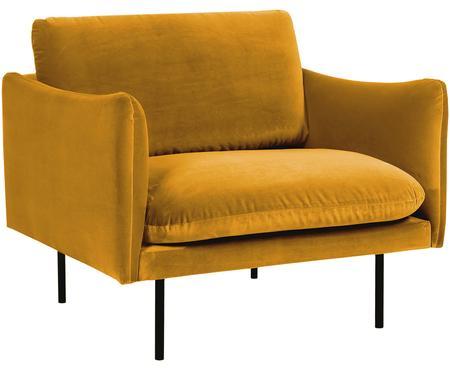 Samt-Sessel Moby in Senfgelb mit Metall-Füssen