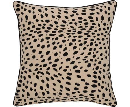 Kissenhülle Leopard mit schwarzem Keder