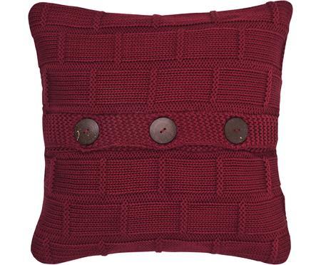 Strick-Kissenhülle Clara in Rot mit Holzknöpfen