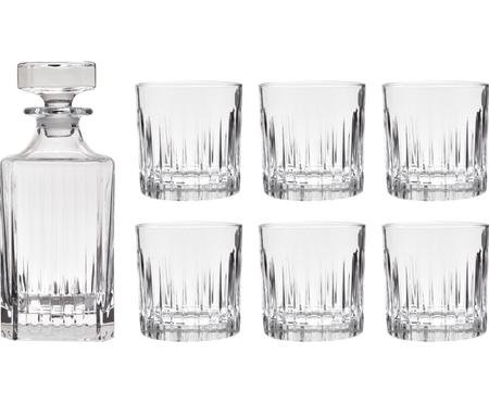 Kristall-Whisky-Set Timeless mit Rillenrelief, 7-tlg.