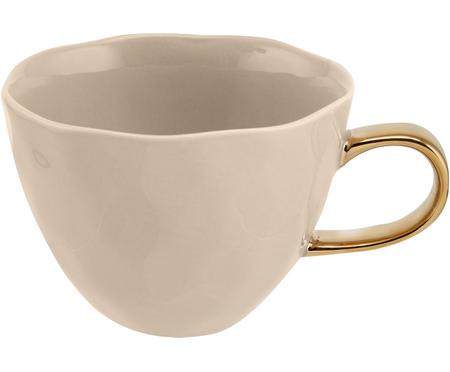 Tasse Good Morning in Grau mit goldenem Griff