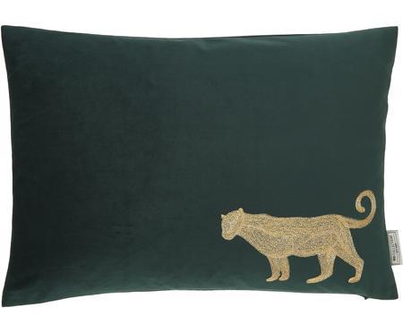 Besticktes Samt-Kissen Single Leopard in Grün/Gold, mit Inlett