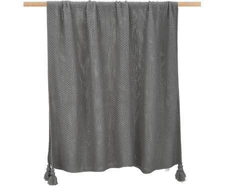 Leichte Strickdecke Lisette in Grau mit Quasten
