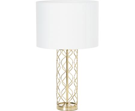 Grosse Tischlampe Adelaide in Weiss-Gold