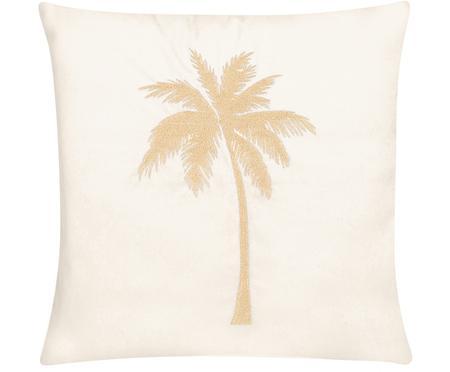 Glänzende Samt-Kissenhülle Palmsprings mit Stickerei