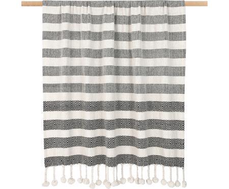 Baumwolldecke Maggie im Streifendesign mit Pompoms