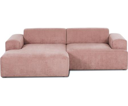 Cord-Ecksofa Melva (3-Sitzer) in Rosa