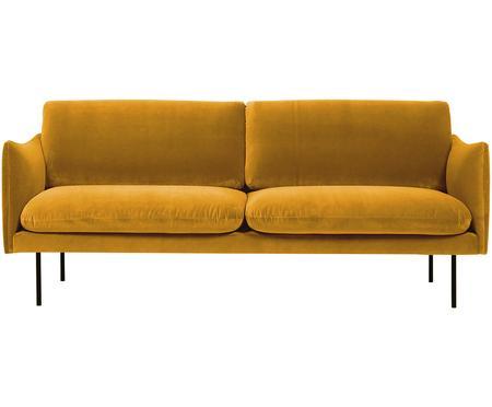 Samt-Sofa Moby (2-Sitzer) in Senfgelb mit Metall-Füssen